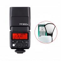 Kit Flash Godox TT350c Para Canon com Carregador Sony + Rebatedor
