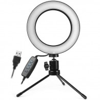 Iluminador Ring Light 16cm Usb Led 3500k 5500k com Tripe
