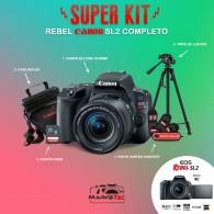 Super Kit Canon Rebel SL2 Com 18-55mm STM + Tripé 1,80m + Cartão 32gb + Case + Porta Cartão