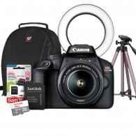Kit Câmera Iniciante Para Fotografia 18mp Full Hd Canon T100