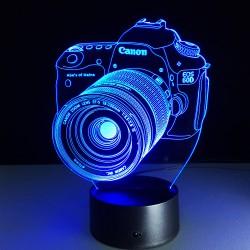 Luminária Formato Câmera Luz Led Colorido Usb Ou Pilhas 3d