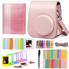 Kit Bundle Para Instax Mini 11 Case + Album + Moldura - Rosa