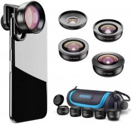 Kit Lentes Para Smartphone Apexel 5 Em 1 Fisheye Tele Wide