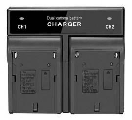 Carregador Duplo Para Bateria De Led Np-f550 F570 Np-f970