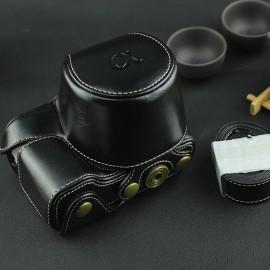 Case / Bolsa Para Câmera Sony A6000 A6300 A6500 Couro Preta