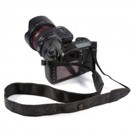 Alça Strap Couro Para Câmera Dslr Nikon Canon Com Pingente PRETA