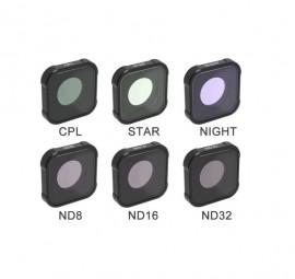 Kit Filtros 6 em 1 Para GoPro Hero 9 Nd + Star + CPL + Night